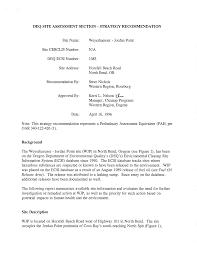 DEQ SITE ASSESSMENT SECTION- STRATEGY RECOMMENDATION Background Site  Description