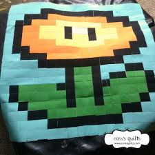 Mario BOM – Block 09: Fire Flower – Cora's Quilts by Shelley Cavanna & Super Mario Quilt Along at Cora's Quilts - Fire Flower Adamdwight.com