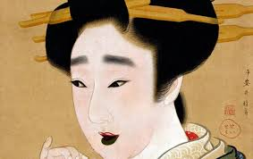 an edo period painting showing a woman with teeth sned black by the practice of oha