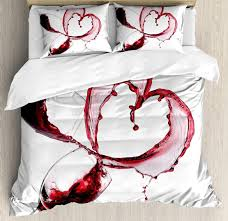 wine duvet cover set heart with spilling red wine in glasses romantic love valentines day concept bedding set queen duvet set gray comforter sets queen