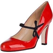 women s c red chunky heels patent leather vintage lace up shoes image