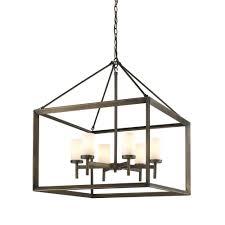 golden lighting smyth 6 light metal bronze chandelier with opal glass shades