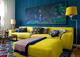bold blue and yellow living room