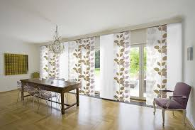 designs ideas glass sliding door treatment with fl pattern fabric curtain near rustic dining table