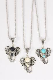 necklace silver chain metal antique metal elephant head pendant semiprecious stone dz match 03097 pendant