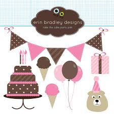 Pink Birthday Clipart Clip Art Banners Cake Balloons And Ice Cream