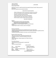 Teacher Objective Resume Teacher Resume Template 19 Samples Formats