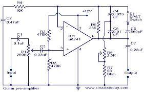 guitar pre amplifier using ua 741 electronic circuits and guitar preamplifier circuit jpg