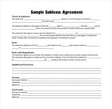 Sample Sublease Agreement Subletting Agreement Template Uk Subtenant Agreement