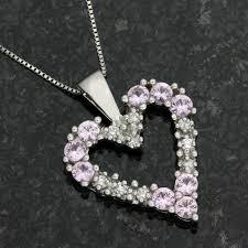 14k white gold genuine diamond pink sapphire necklace