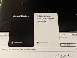 100 lucky cards against humanity customers just found a check in their mail