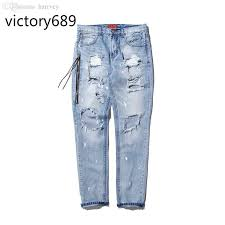 2019 whole victory689 fashion high street mens destro jeans hole cal pants cool wash blue joggger damage 424 jeans rock hip hop men from harrvey