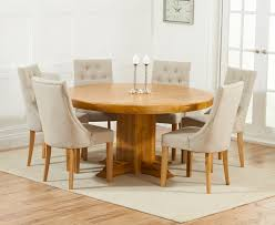 memphis solid oak 150cm round pedestal dining set with 4 poto beige chairs