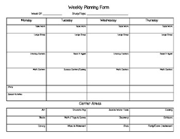Weekly Planning Creative Curriculum Weekly Planning Form