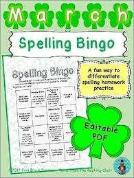 Spelling Bingo For March Editable Pdf Word Work Station