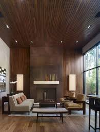 View in gallery Thin wooden paneling in a modern living room
