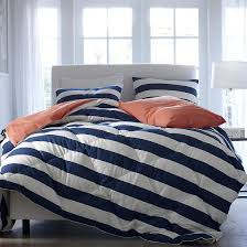 image of navy striped blue and white bedding