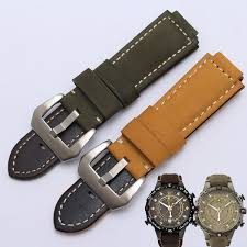 huxie 24 16mm genuine leather watch band black smooth belt brown nubuck leather replacement strap