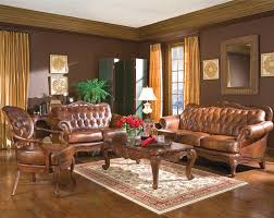 image of living room color schemes with brown leather furniture decor
