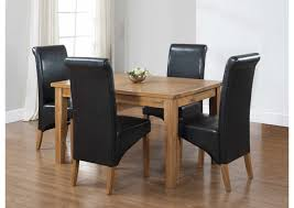 brilliant furniture square oak dining room table and 4 black leather chairs dining room table 4 chairs ideas