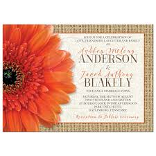 Burlap And Lace Wedding Invitations Rustic Orange Daisy Burlap Lace Wedding Invitation