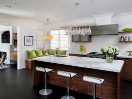 Transitional White Kitchen With Dark Wood Flooring