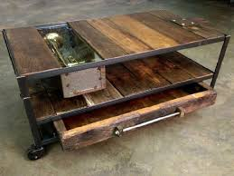rustic coffee table ideas wheels livi on industrial blend living room makeover reveal