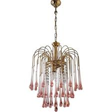 vintage chandelier with murano glass teardrops by paolo venini