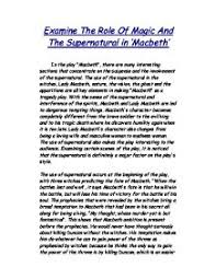 examine the role of magic and the supernatural in macbeth gcse  page 1 zoom in