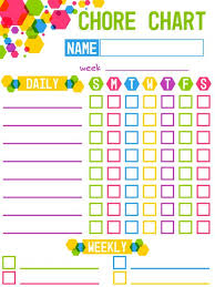 Colorful Childrens Chore Chart