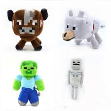 baby wolf minecraft plush. Interesting Wolf 4pcs Minecraft Plush Toys Set Games Wolf Steve Zombie Skeleton  Baby Cow Soft Stuffed Intended A