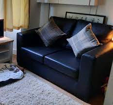 navy leather 2 seater sofa immaculate
