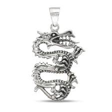 men s antique finish dragon necklace charm in sterling silver