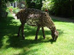 animal woven willow garden statues