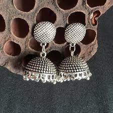 india retro jhumka earrings handmade antique silver tribal jewelry boho hippie chandelier earrings stani thailand nepal
