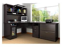 wooden l shaped office desk. Furniture : Black Wooden L Shaped Office Desk With Hutch Plus Book Storage Using Pull Up Door Combined Large Drawer Placed On Brown Carpet As Well