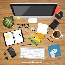 designer office desk isolated objects top view. realistic graphic designer desktop in top view office desk isolated objects w