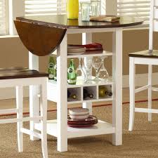 small round double drop leaf kithcen table with plate and wine storage plus 2 wooden chairs painted with white and dark brown color ideas