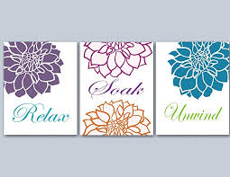 interior blue bathroom wall art motivate relax soak unwind brown and by wallartboutique 13 from on blue and gray bathroom wall art with blue bathroom wall art home amazon com floral orange green