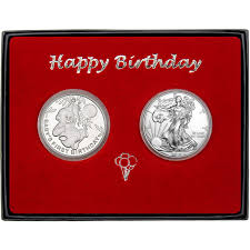 baby s first birthday birthday silver round and silver american eagle 2pc gift set engravable silvertowne mint minted bullion tap to expand