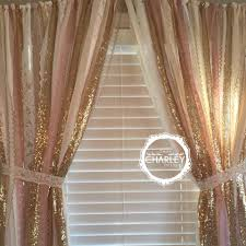 description pink and gold garland curtain