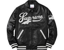 supreme uptown studded leather varsity jacket black in black for men lyst