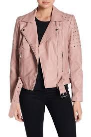 image of sebby grommet faux leather moto jacket