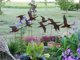 flying geese garden art rusty metal sculpture swans in flight sculpturemetal decorations uk decor whole