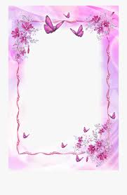 Border Designs Images Pictures Pink Transparent Frame With Butterflies Beautiful