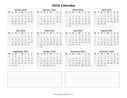 calendars with notes yearly calendar 2019 free download and print