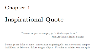 quoting inspirational quote at start of chapter tex latex  this