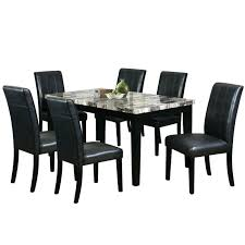 black dining set 7 piece black faux leather dining set extending black glass dining table and