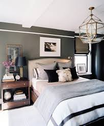 ... masculine bedding sets. A combination of neutral dark and clean white  colors is a safe way to go.