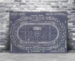 Vintage Print Of Boston Garden Seating Chart Blueprint On